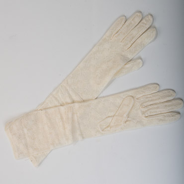 "Ivory 16"" Elbow Long Lace Gloves"