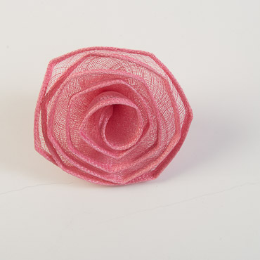 Pink 5 Inch Sinamay Flower Trims
