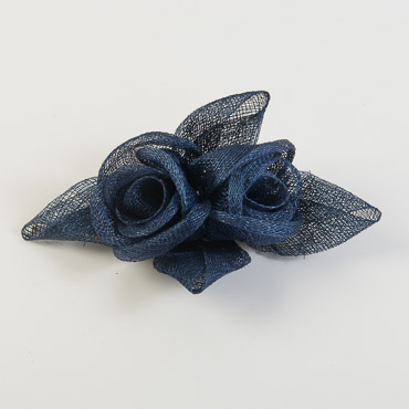 Navy Rose with Leaves Bow Trims