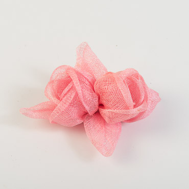 Pink Rose with Leaves Bow Trims