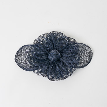 Navy Sinamay Flower Bow Trims