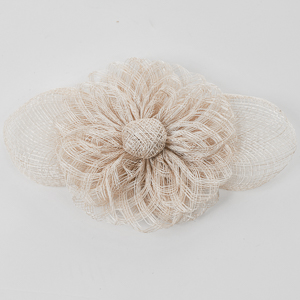 Ivory Sinamay Flower Bow Trims