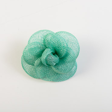 Mint Sinamay Camellia Braided Bow Trims