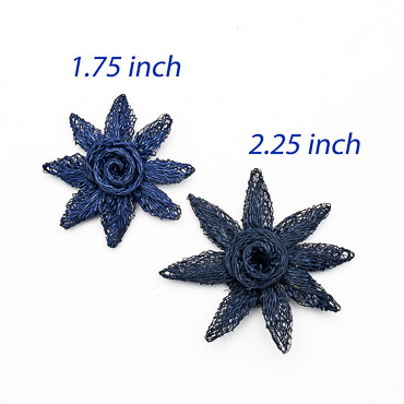 Navy Small Sinamay Flower Star Trims