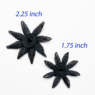 Black Small Sinamay Flower Star Trims