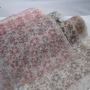 Medium Sizing Flower Printed Sinamay Fabric