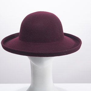Wine Round Crown Up Brim Wool Fetl Hat
